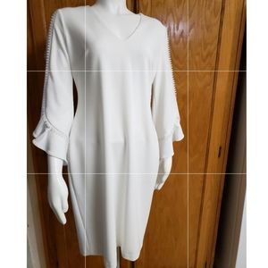 Calvin Klein| NWT V-Neck 3/4 Sleeve White Dress|8